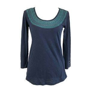 NEW Lucky Brand Navy Henley Tee Embroidered Small